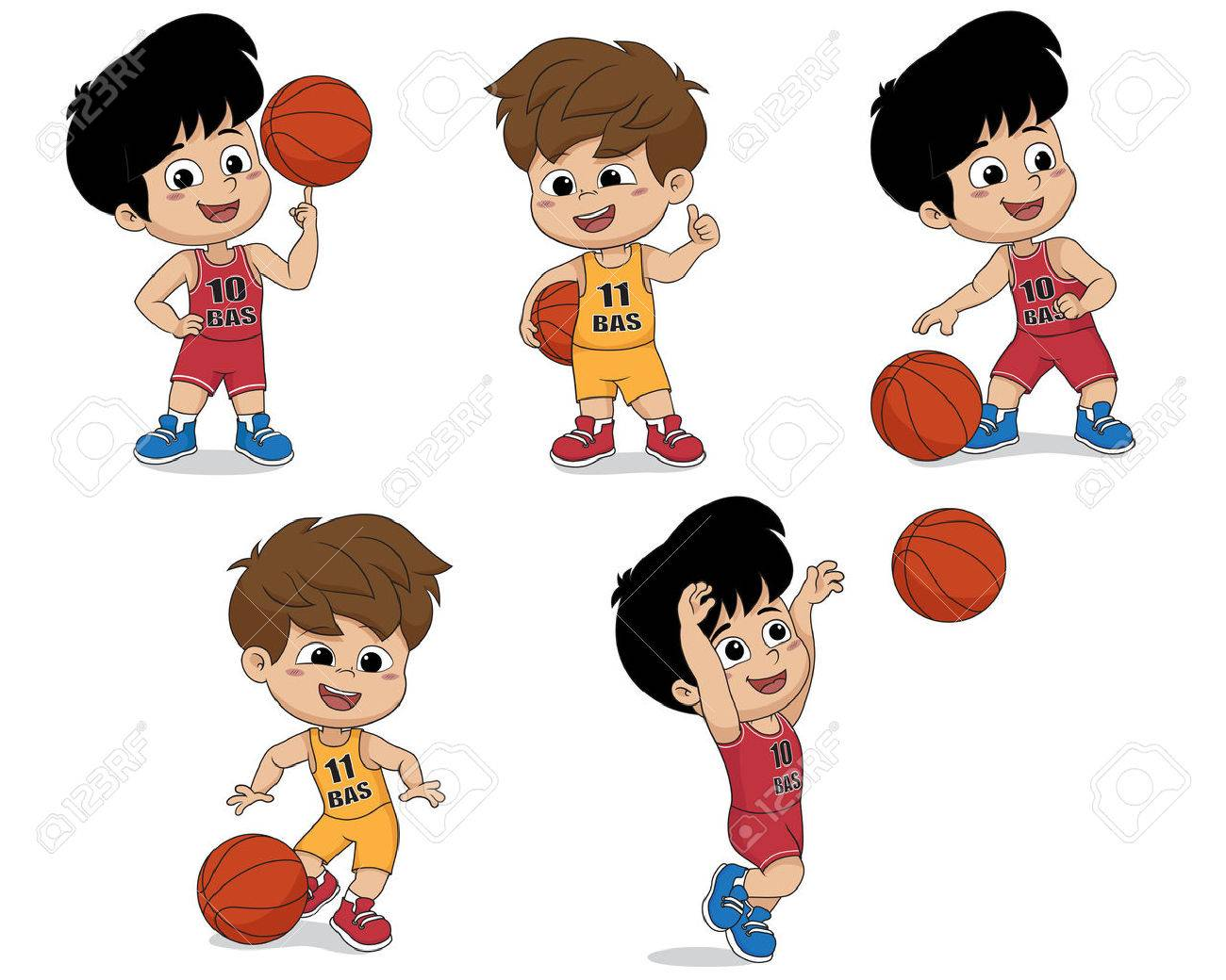 FIVE BOYS PLAYING WITH BASKETBALLS