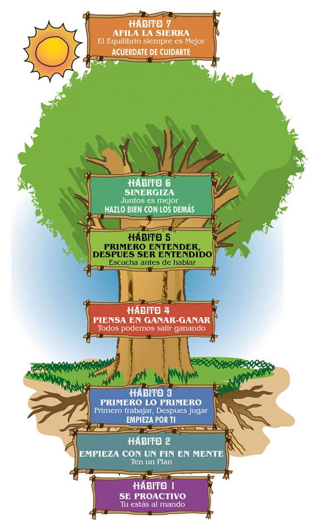 The 7 habits tree of habits in spanish