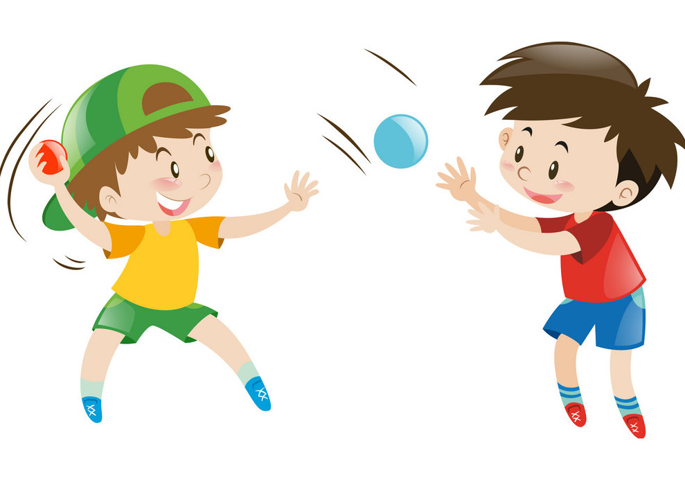 TWO BOYS PLAYING CATCH WITH A BALL