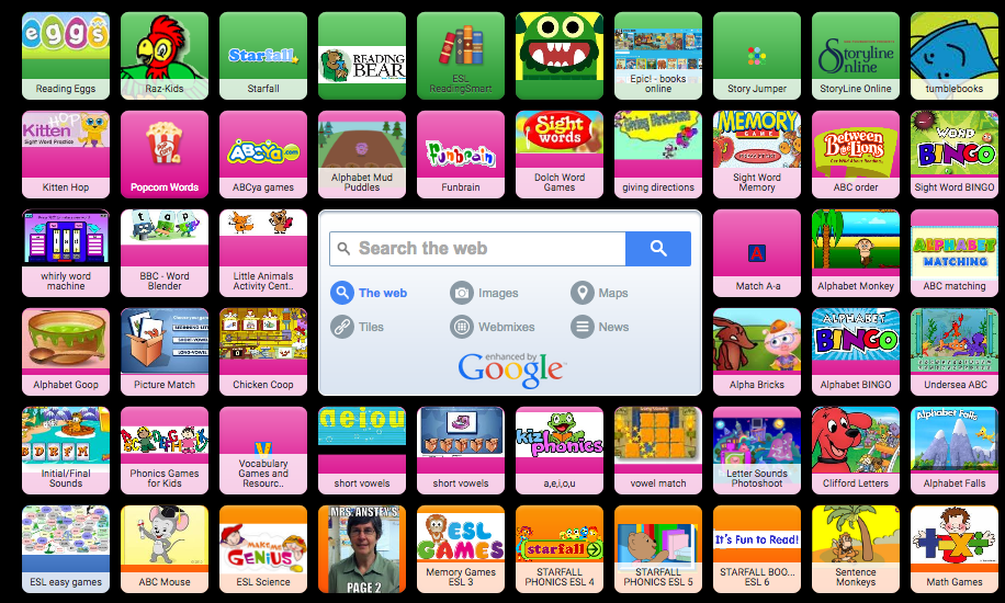 screen shot of symbaloo icons of kids websites
