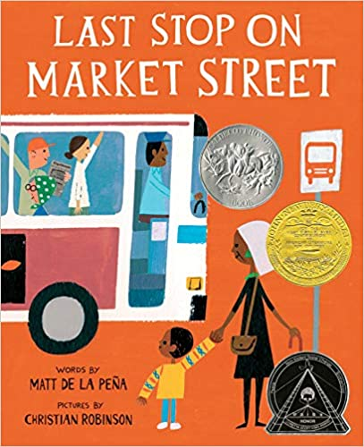 market street orange book cover with kids and woman on a city bus stop