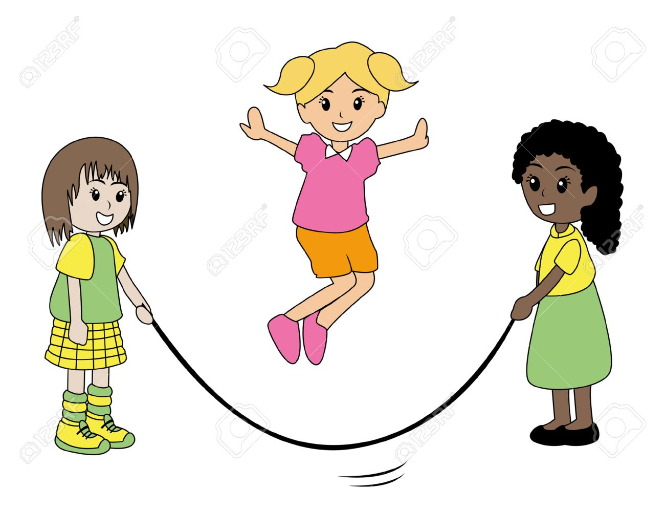 THREE GIRLS JUMPING ROPE