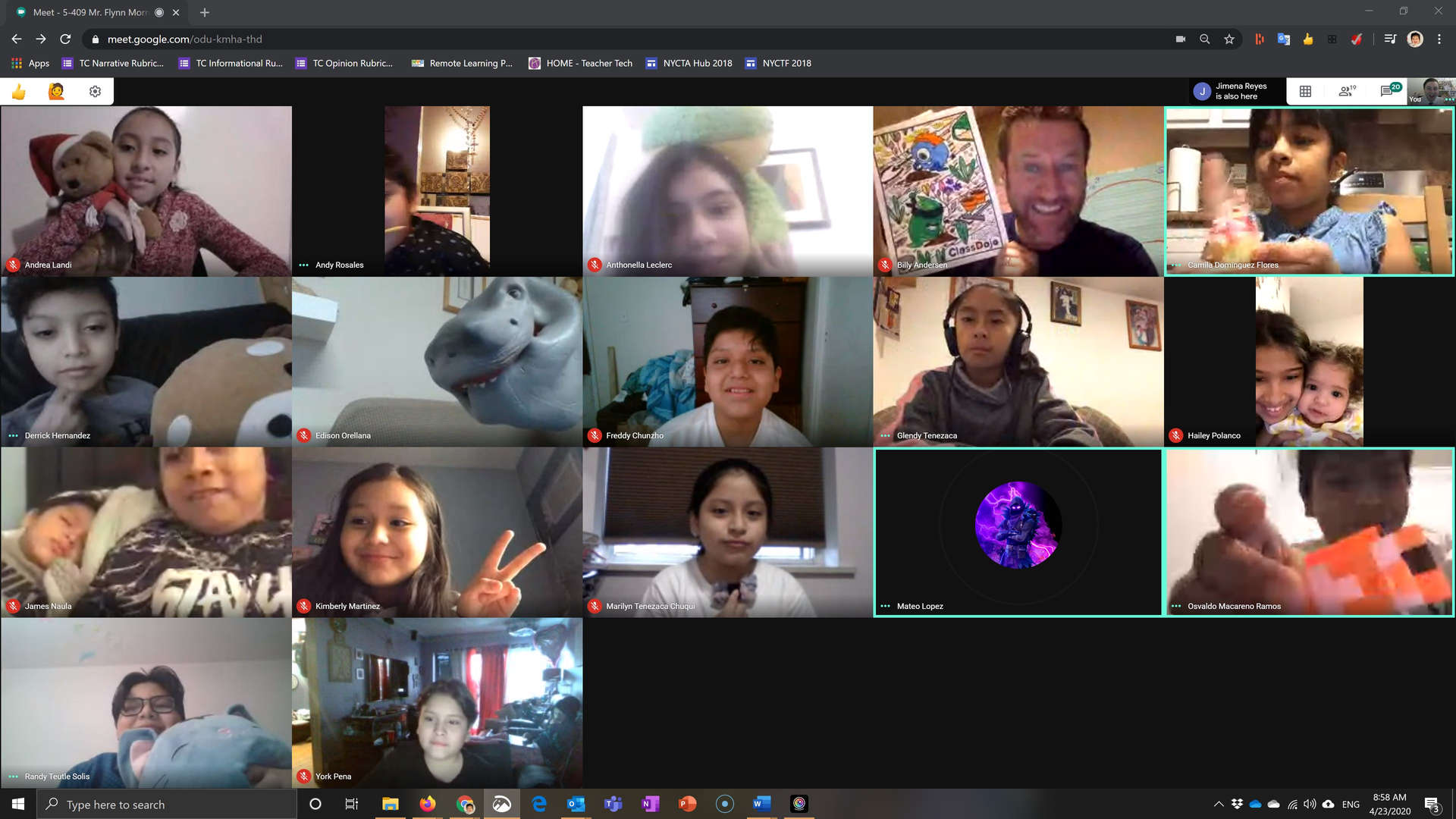 remote student in a meet remote students cluster class