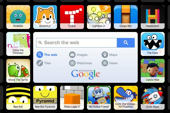 screenshot of symbaloo coding app for kids