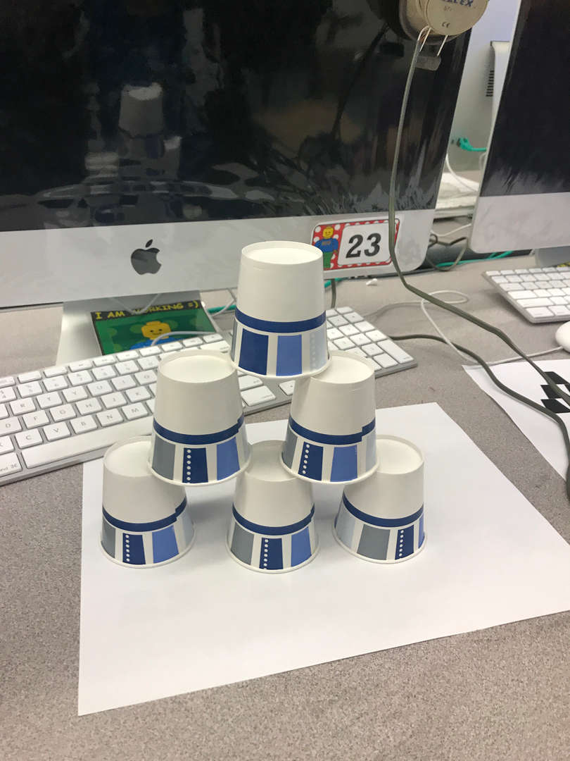 pyramid made of cups