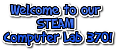 welcome to our computer lab logo in blue and white letters