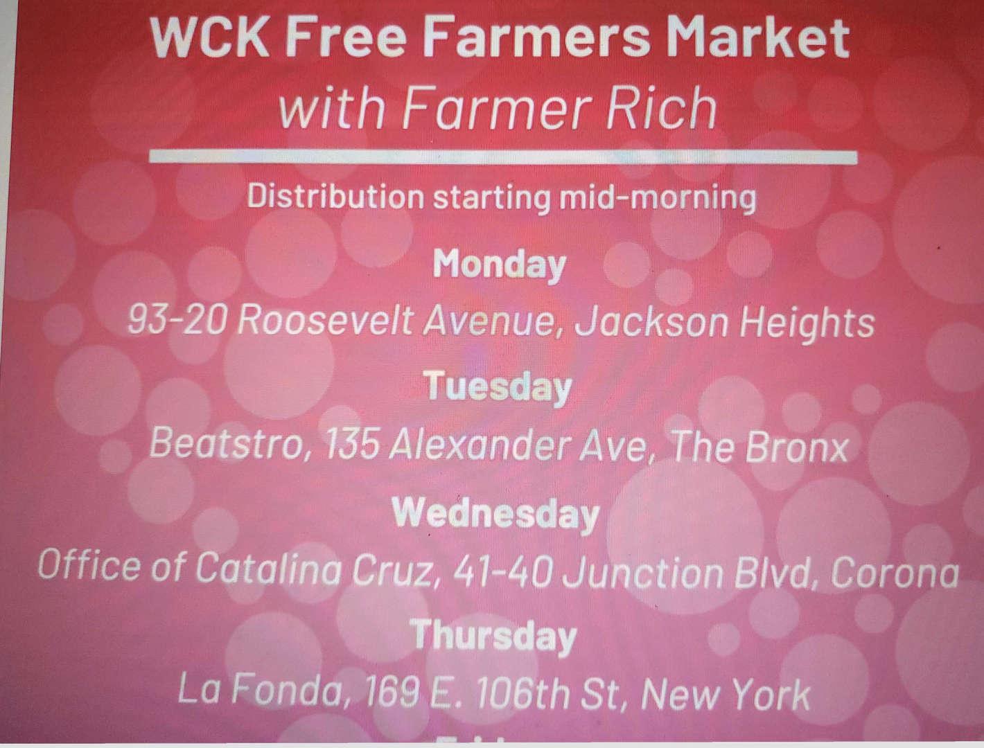 Farmer's Market Schedule