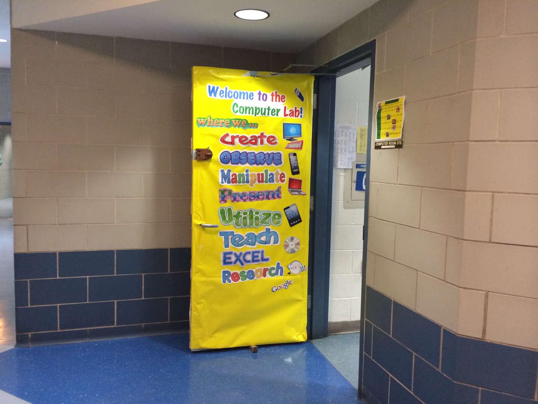 computer lab 370 open door display in yellow paper