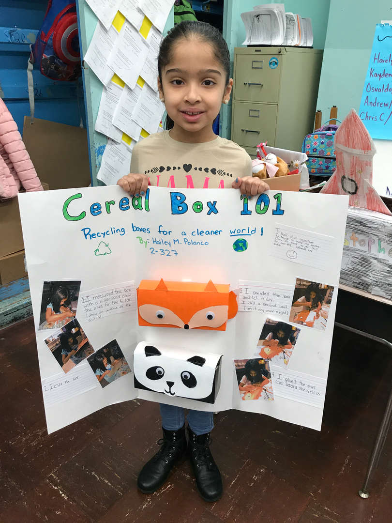 STUDENT PRESENTING HER TRASH TO TREASURE POSTER