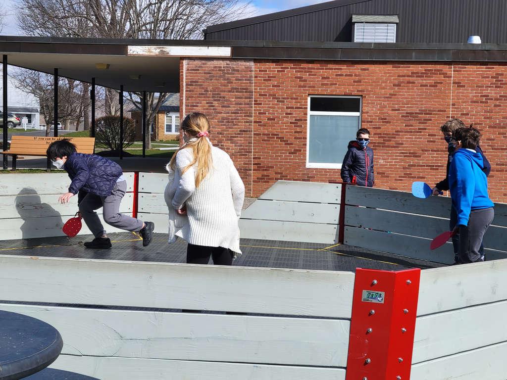 kids playing gaga pit
