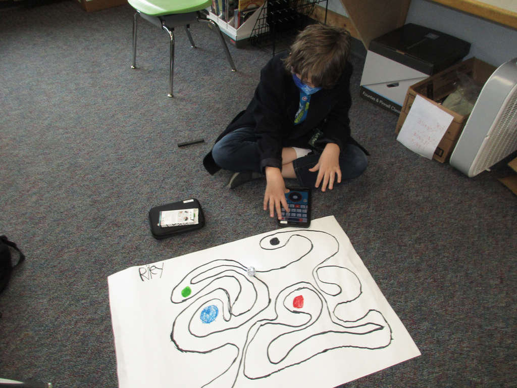 Student running Ozobot program