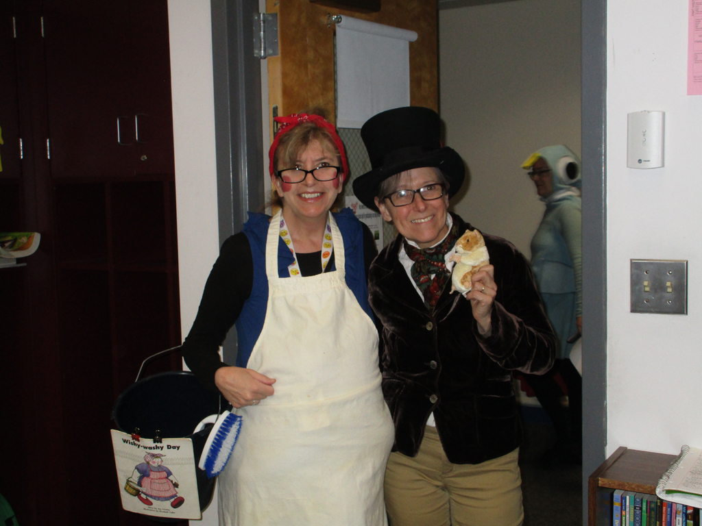 Two teachers dressed in character for spirit week
