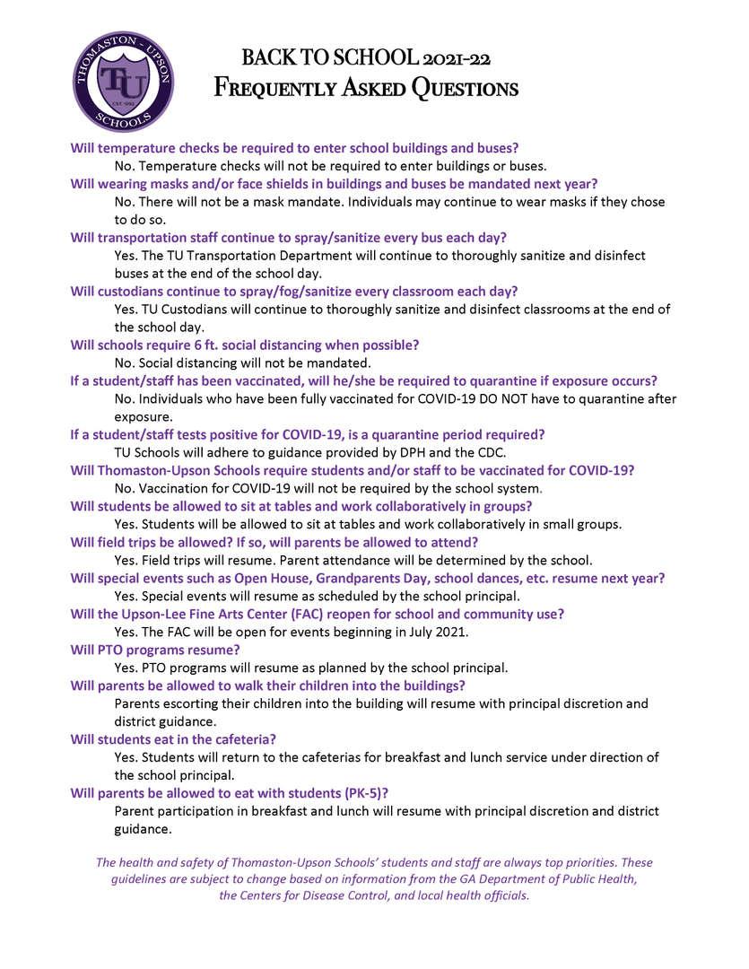 FAQ BTS 2021-22