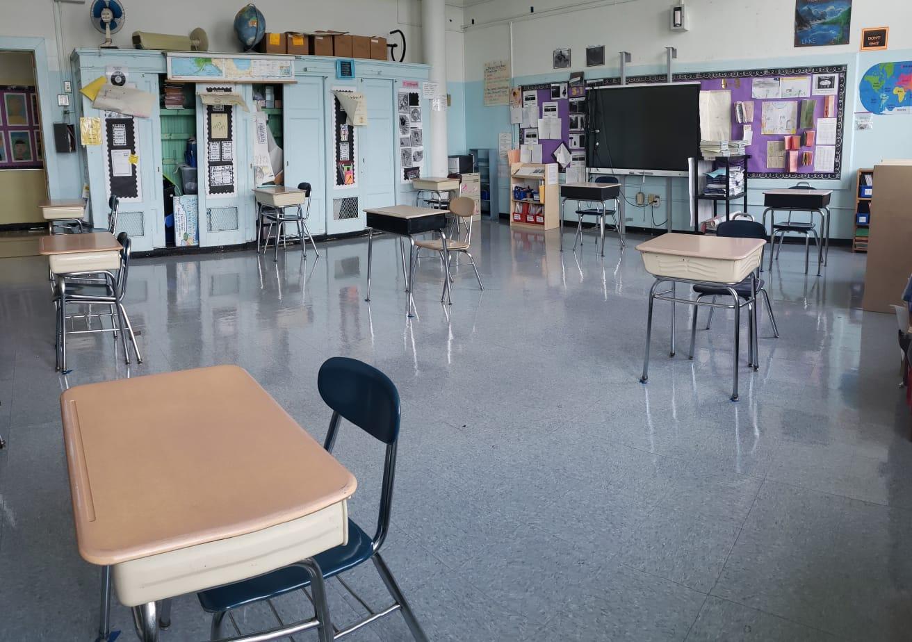 classroom with desks 6 feet apart