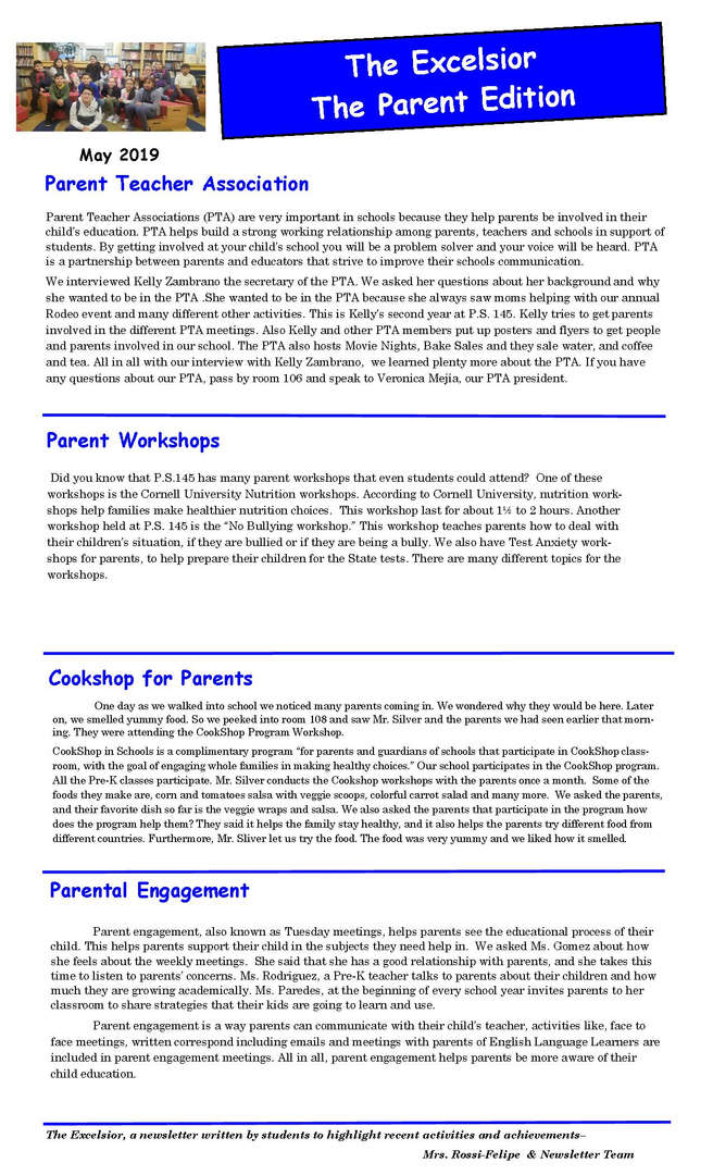 Parent Edition of the Excelsior Newsletter