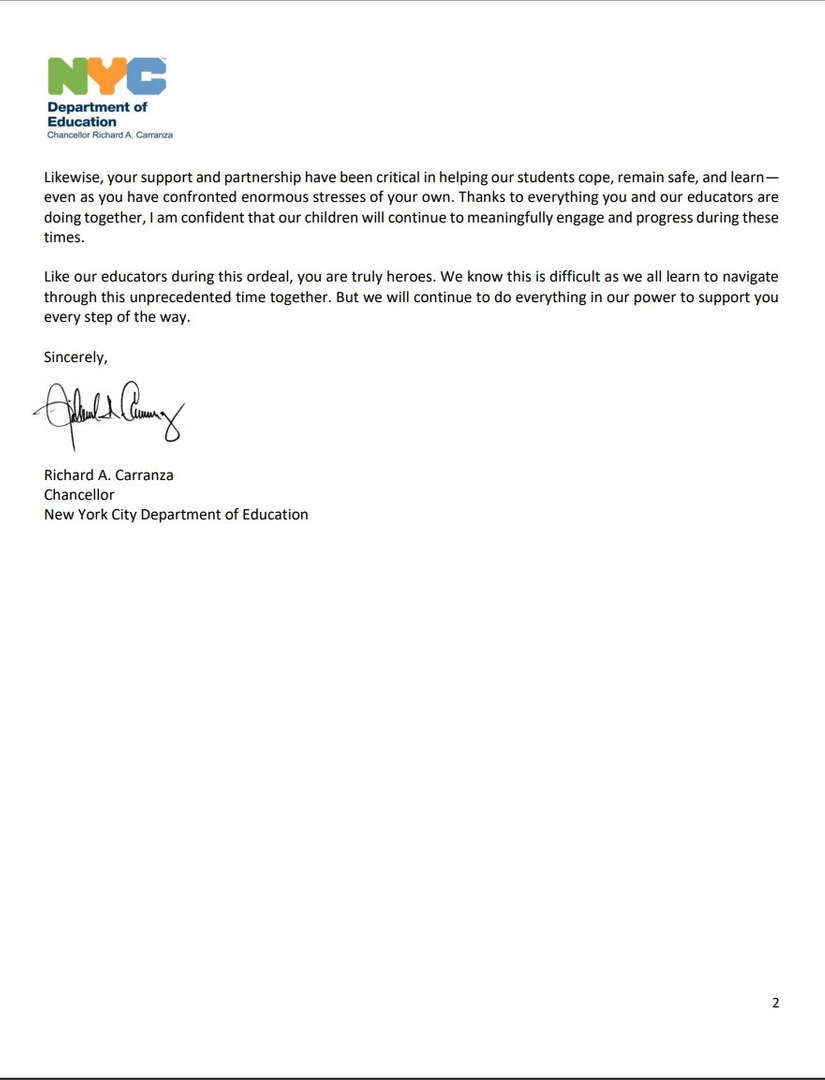 Letter from Richard A Carranza