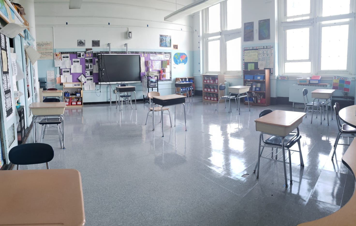 Classroom showing windows and desks