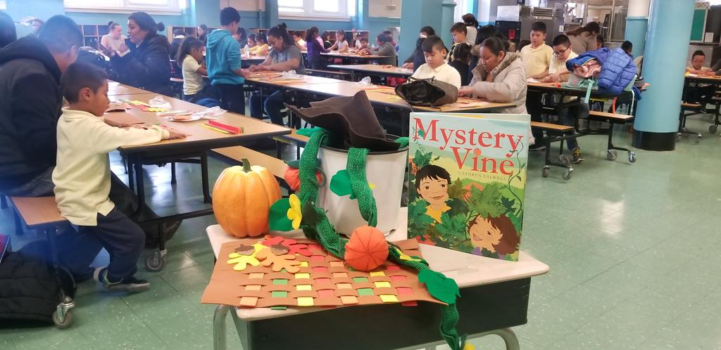 The Mystery Vine book displayed with pumpkin and place mat
