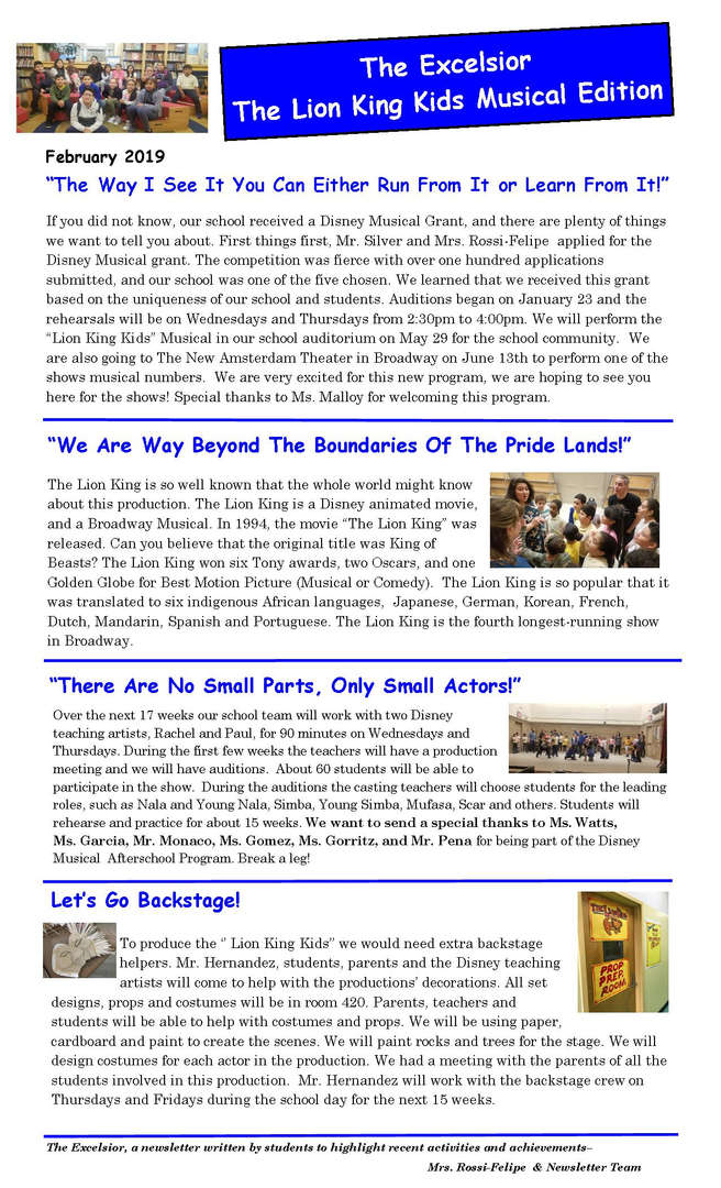 June Issue of the newsletter The Lion King Edition
