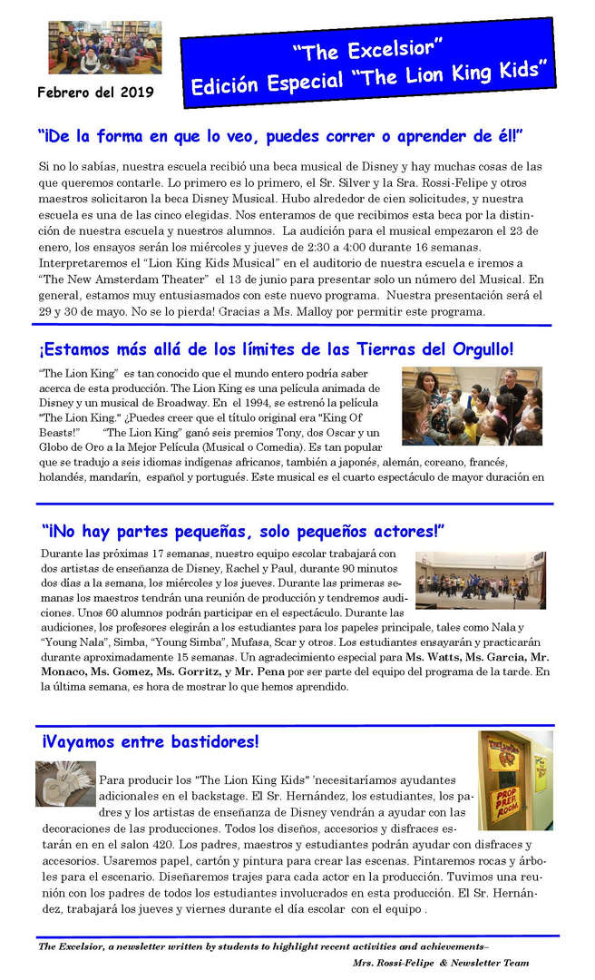May issue of the Excelsior Newsletter