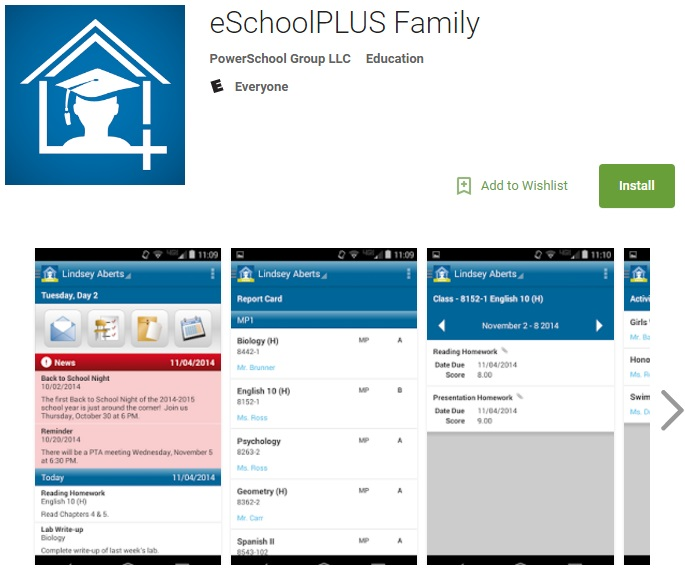eSchool Family Plus app for student grades and schedules.