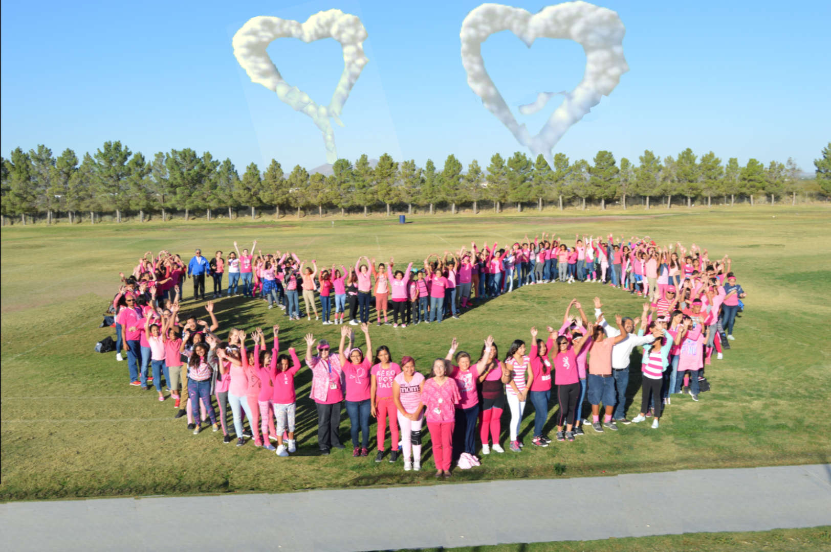 Chaparrall Middle students and Staff forming a pink heart