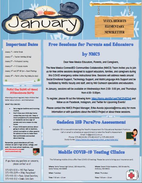 Yucca Heights Elementary Newsletter