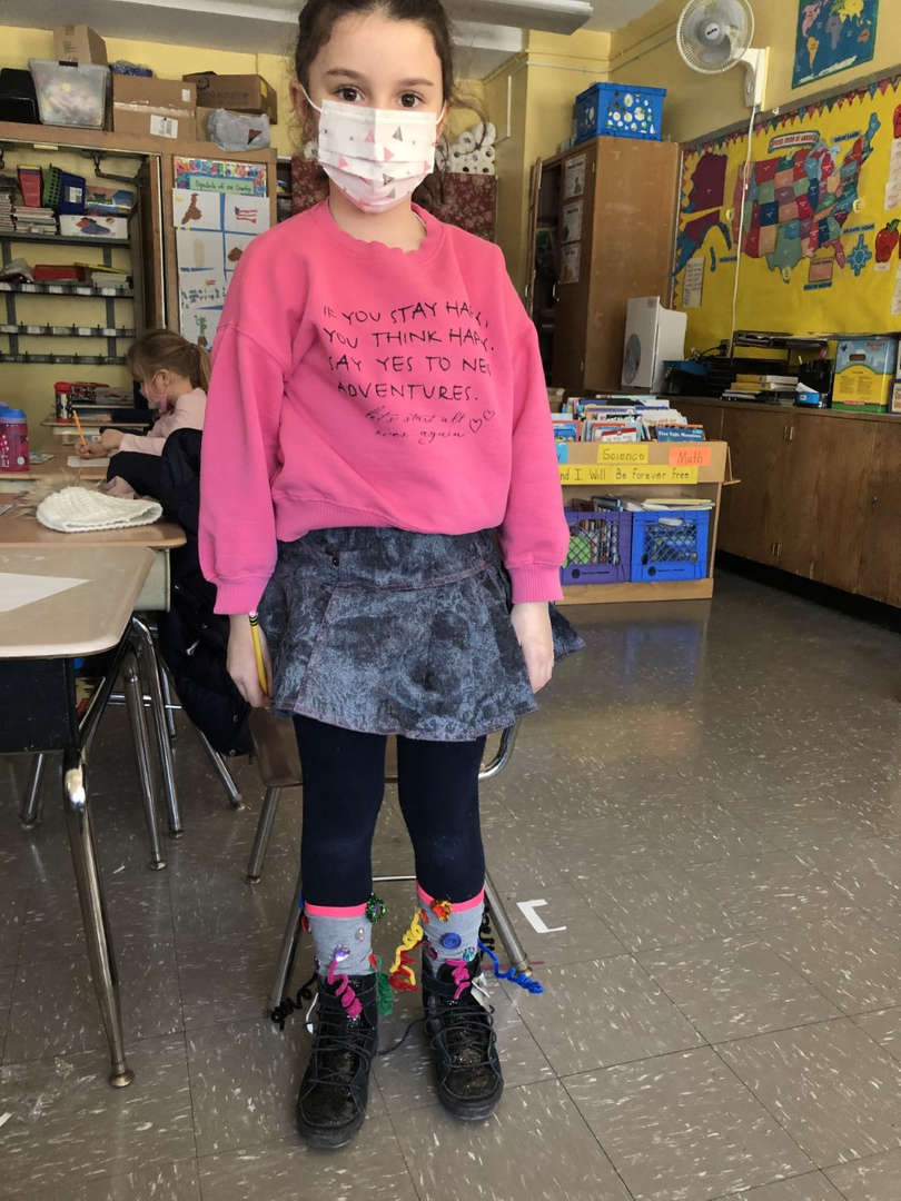 Student 4 wearing silly socks