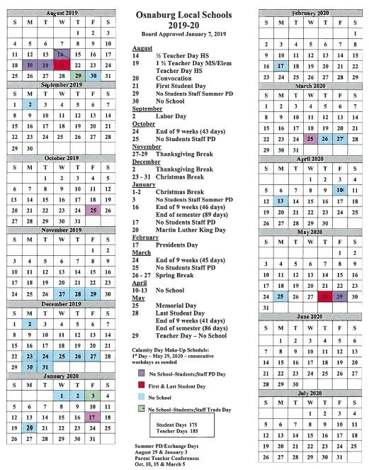 school calendar 19 20