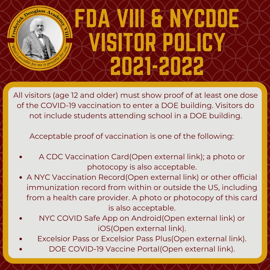 FDAVIII & NYCDOE Visitor Policy 2021-2022