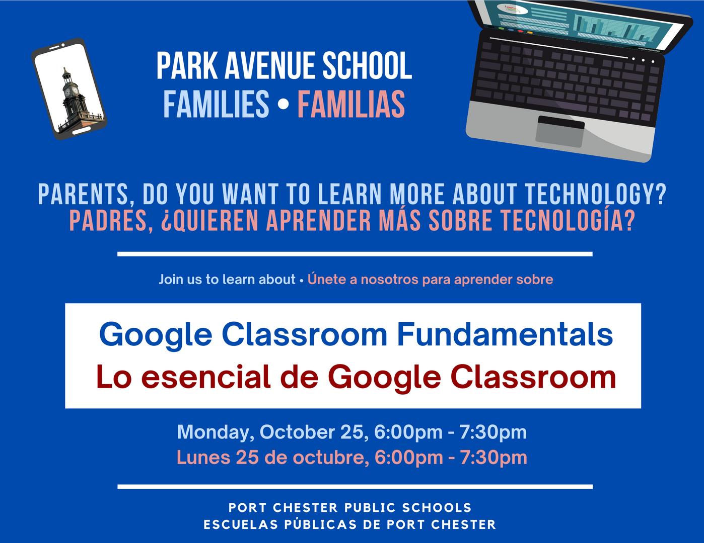 Flyer for family technology workshop