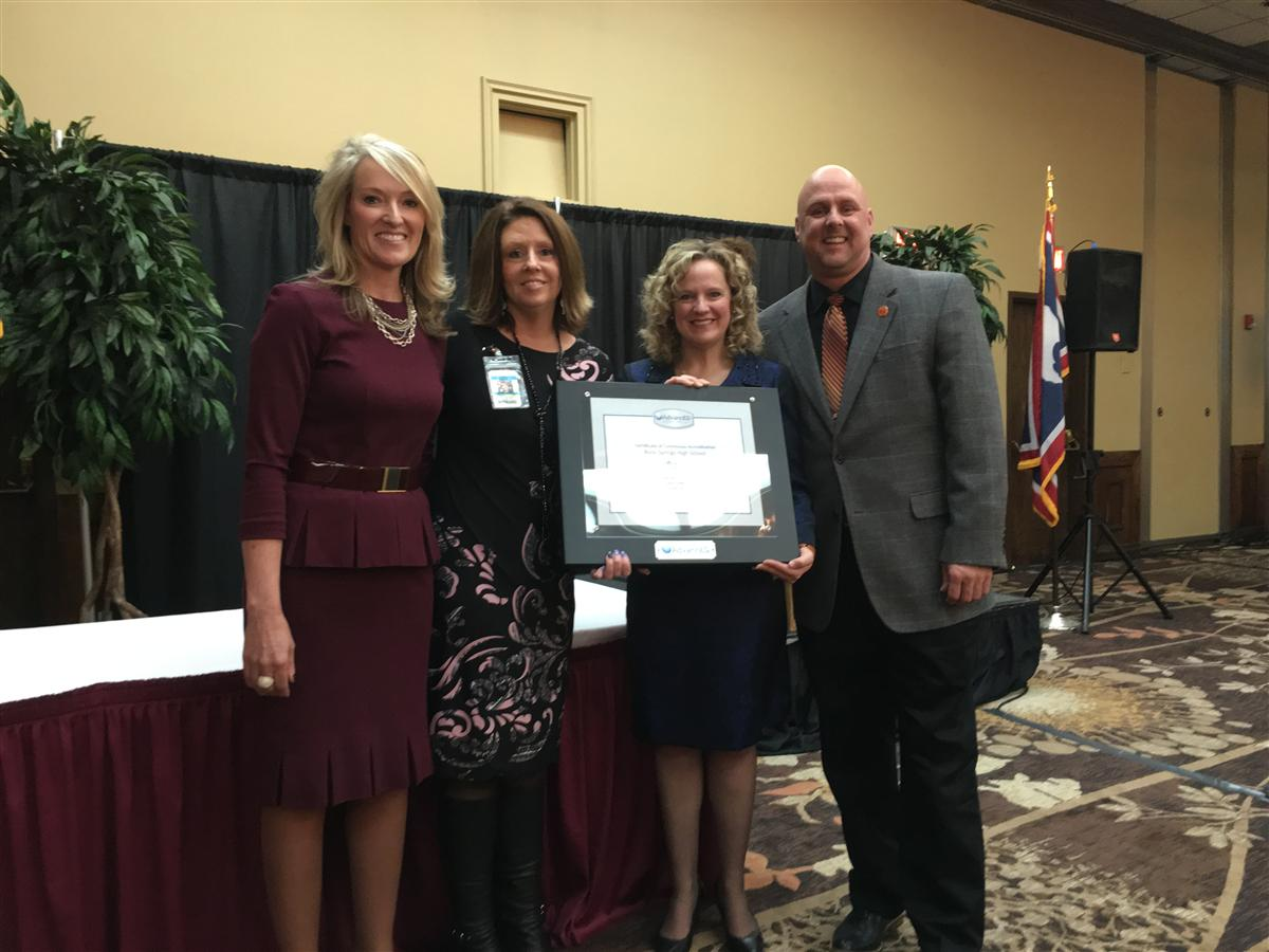 RSHS recognized for 100 consecutive years of accreditation: Mrs. Maloney, Superintendent McGovern & Mr. Peppard with Jillian Ballow (WY Superintendent of Public Instruction)