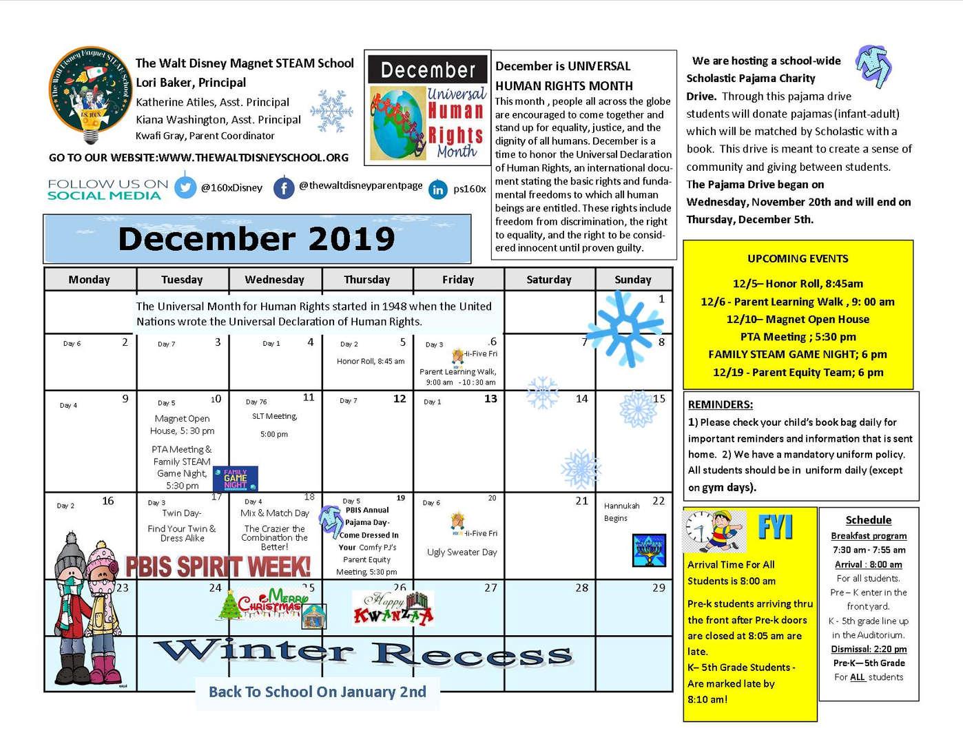 December school calendar