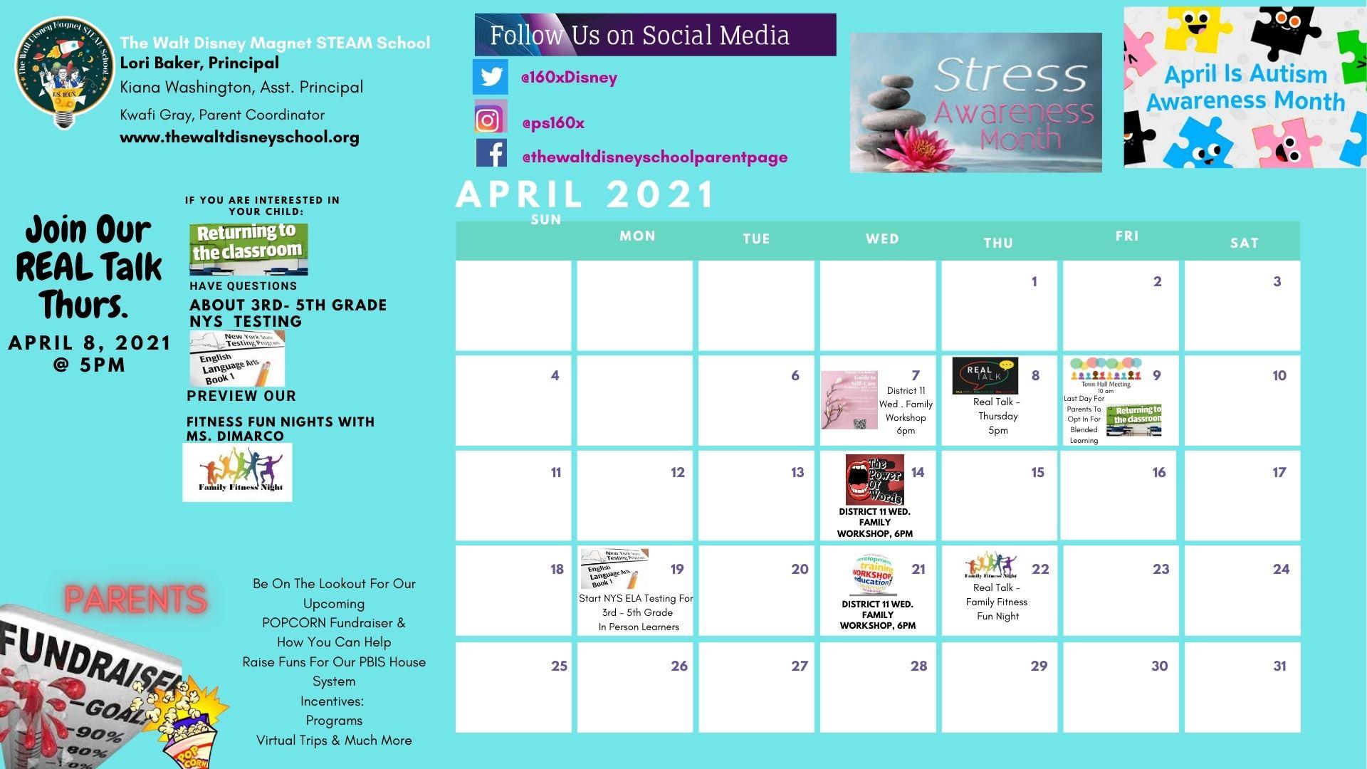 April School Calendar of Events