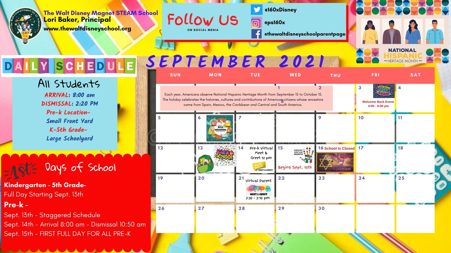 SEpt. 2021 School Calendar with important dates and school closures.