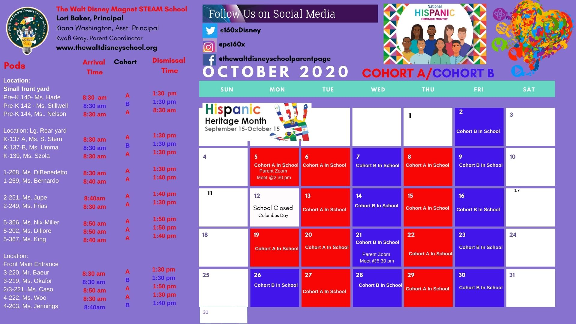 October Student Cohort A & B calendar