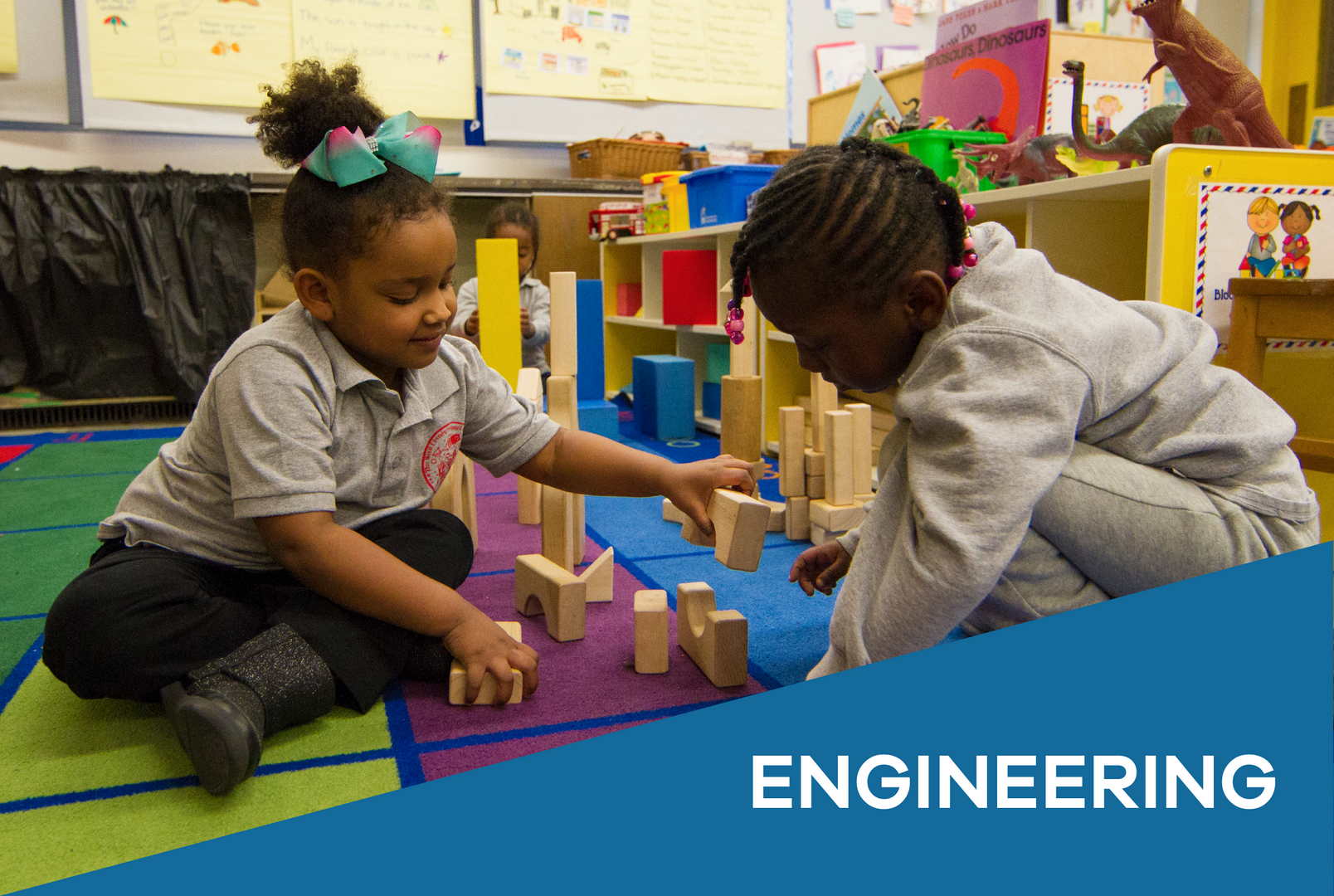 Engineering: little ones playing with blocks