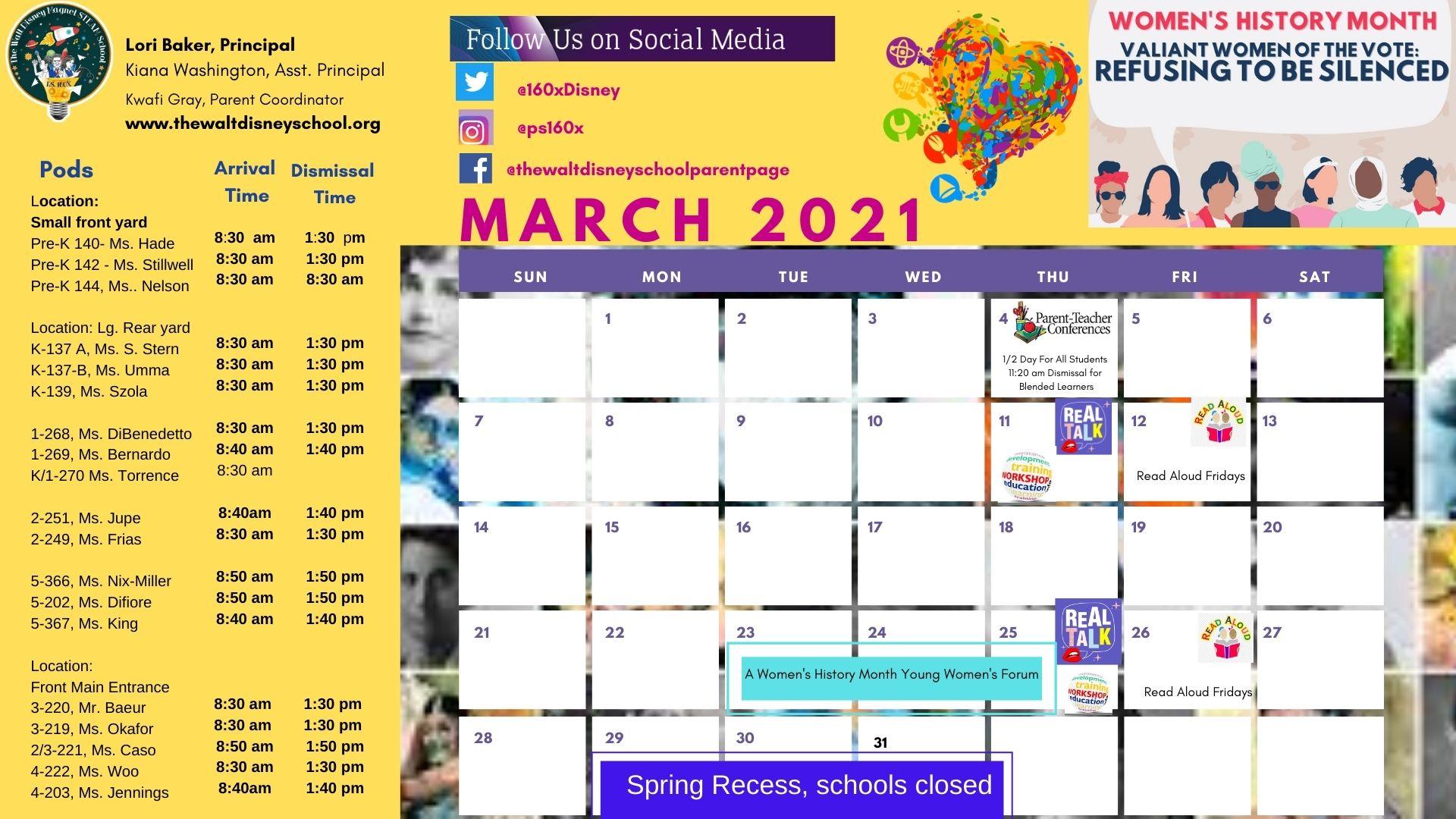 March School Calendar