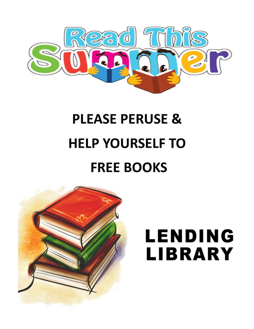 Flyer of books for a lending library at the school.