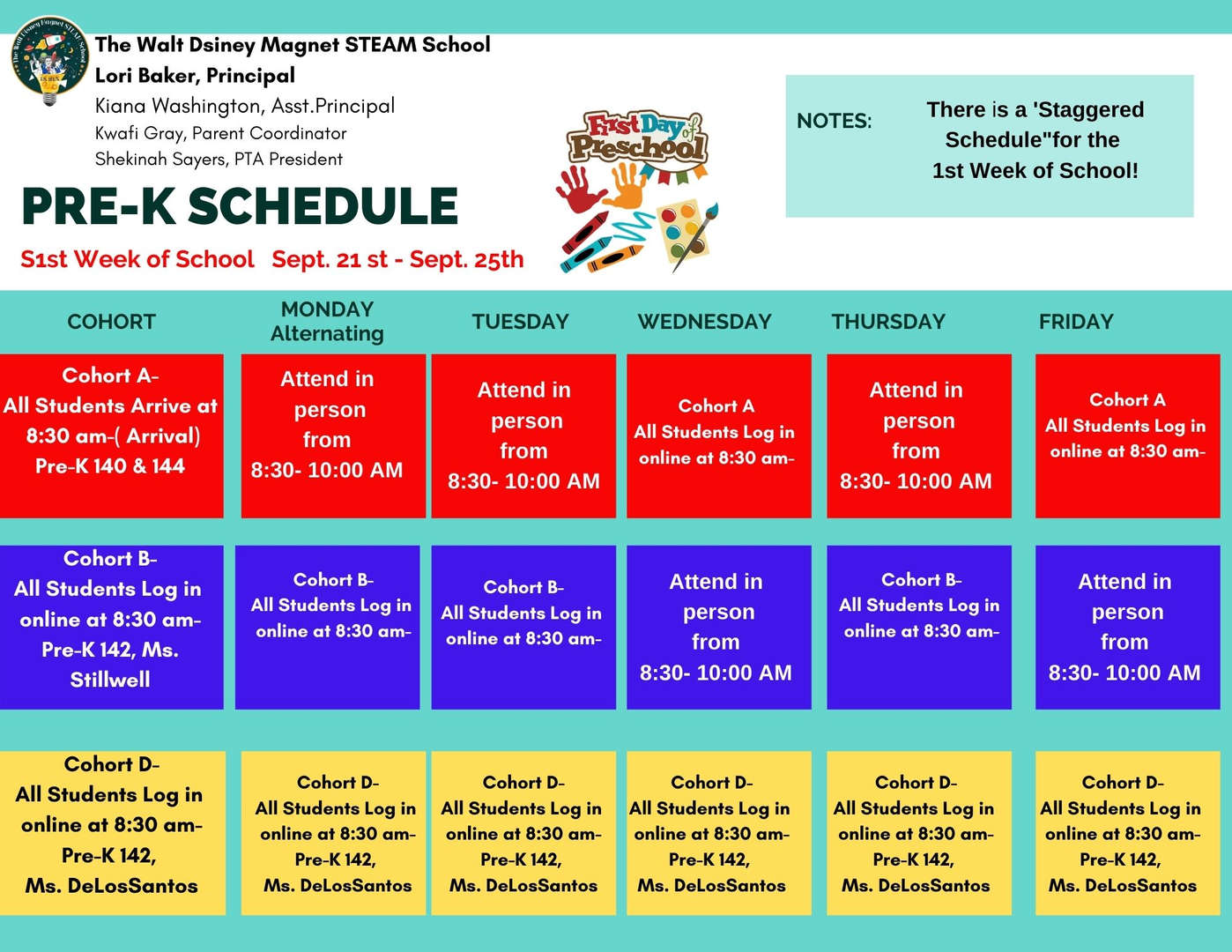 Pre- K Remote and Blended Learning Schedule.