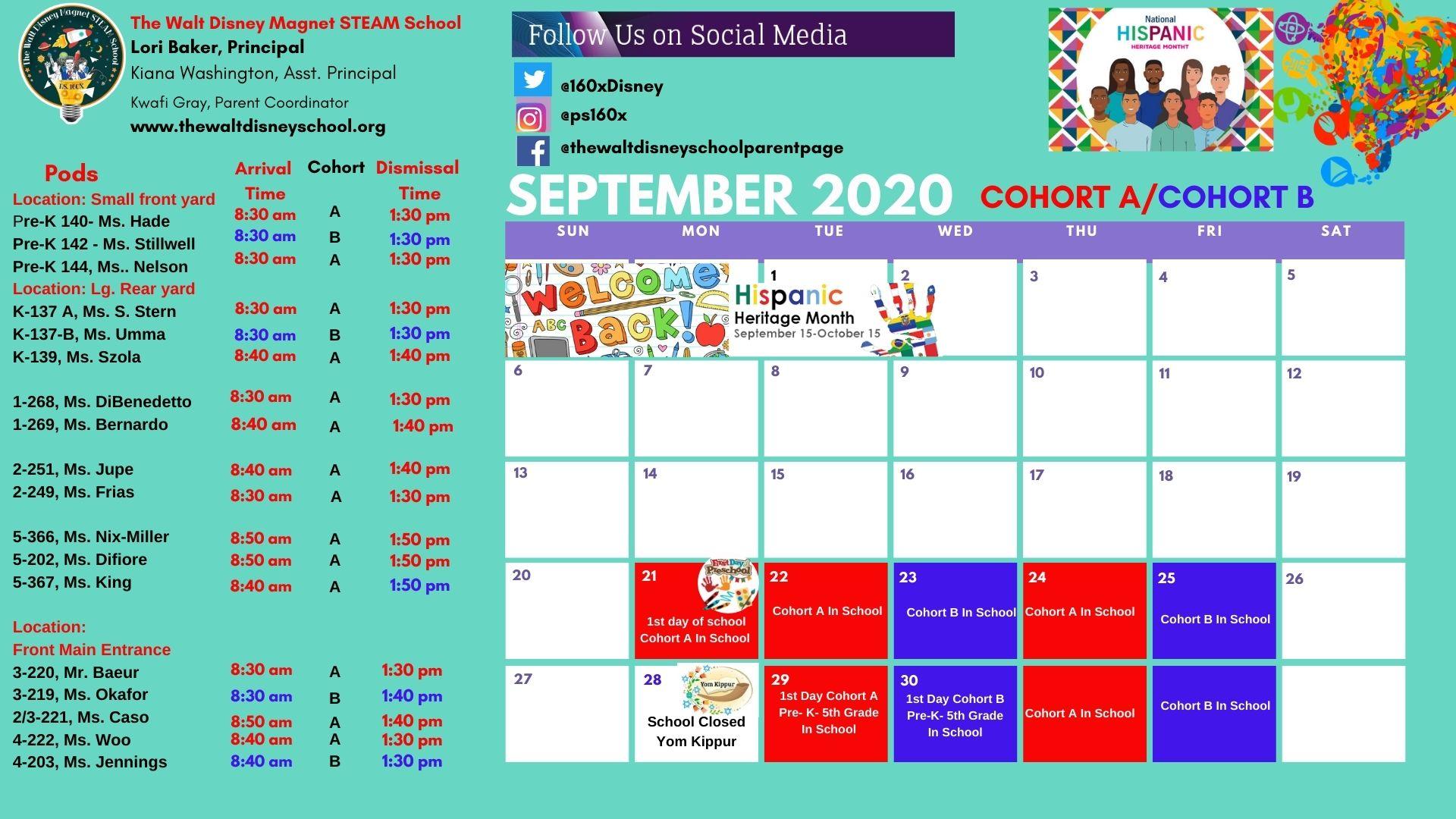 Student Sept. 2020 Calendar- Cohort A & B