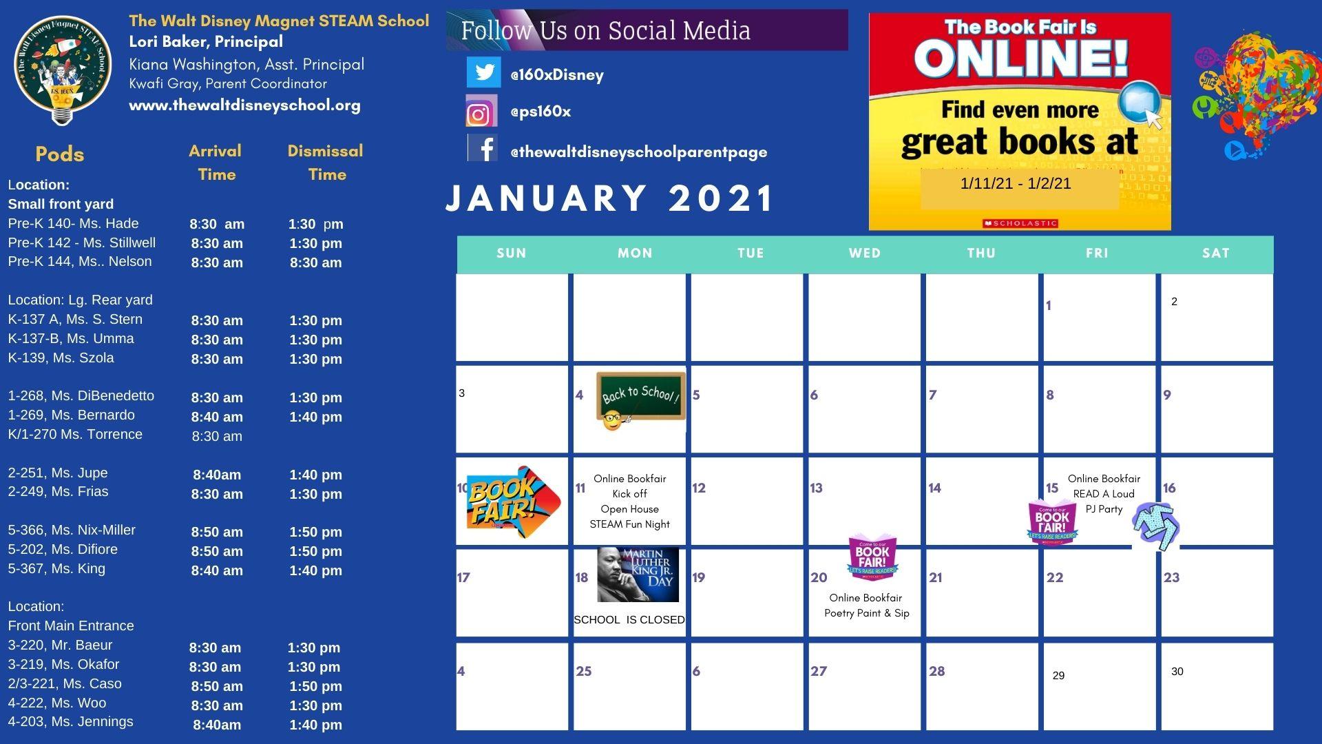 January 2021 school calendar