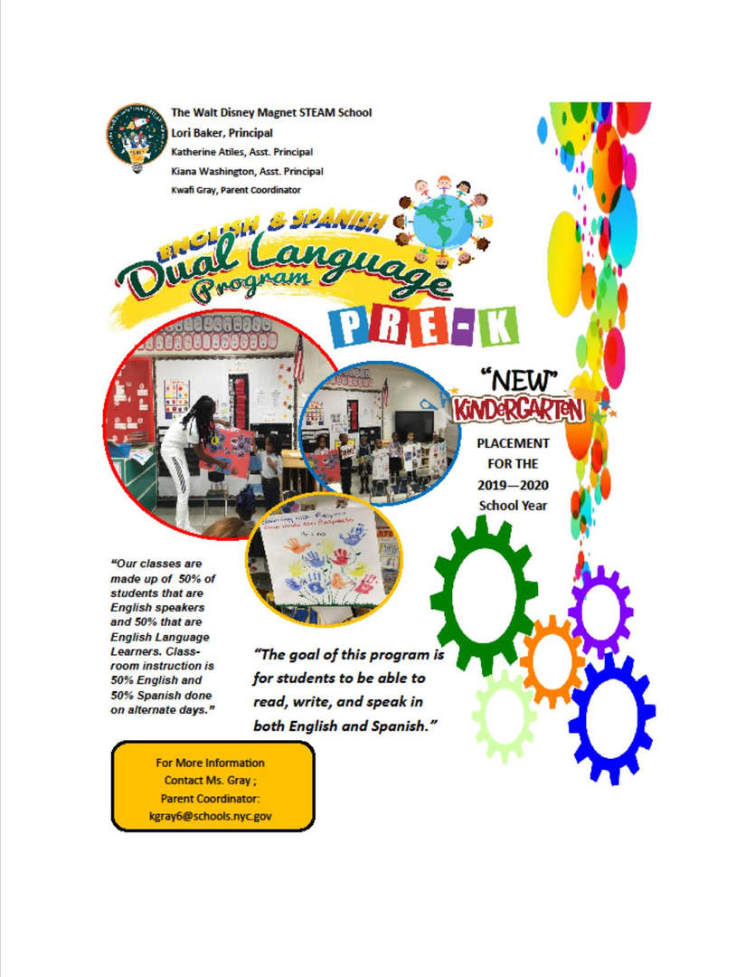 Dual Language Pre-k and Kindergarten flyer