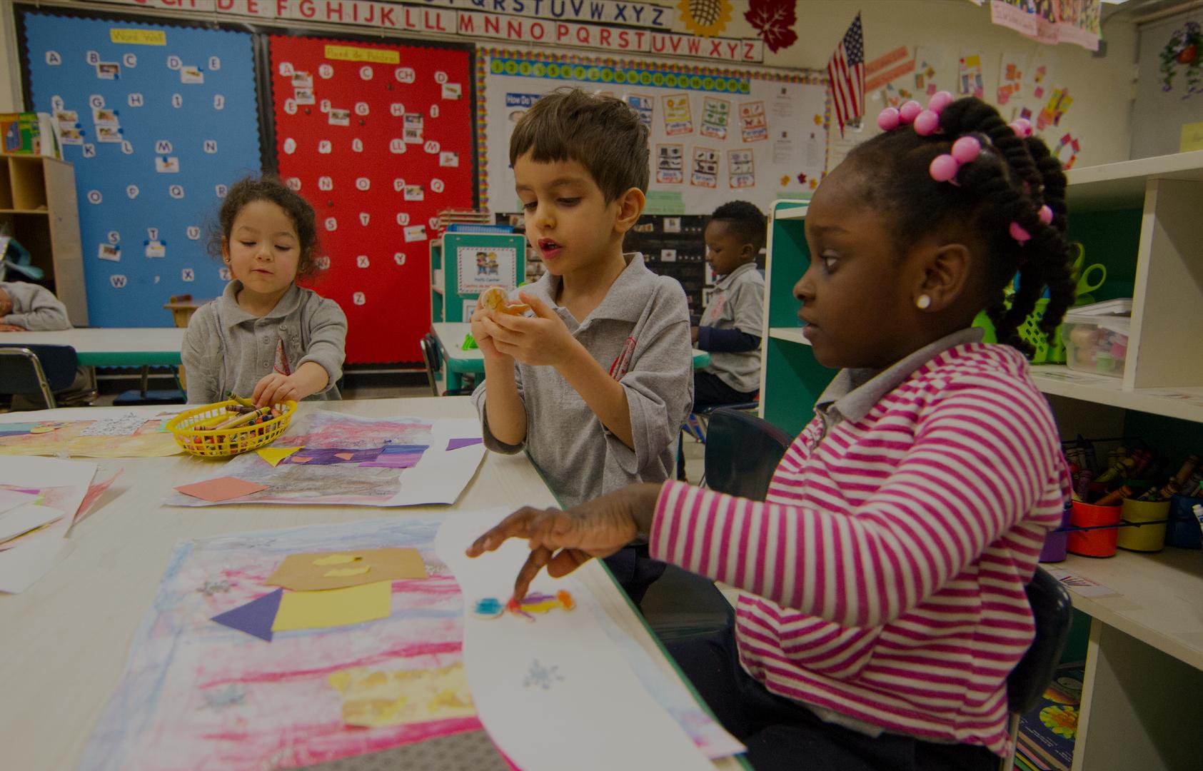 Pre-K class doing art