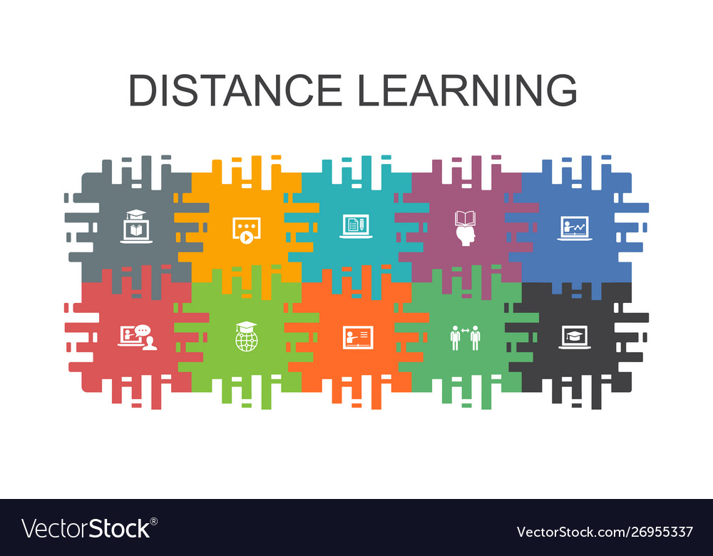 Distance Learning colorful puzzle pieces