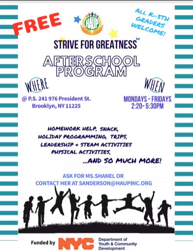 HAUP After-school Program Flyer
