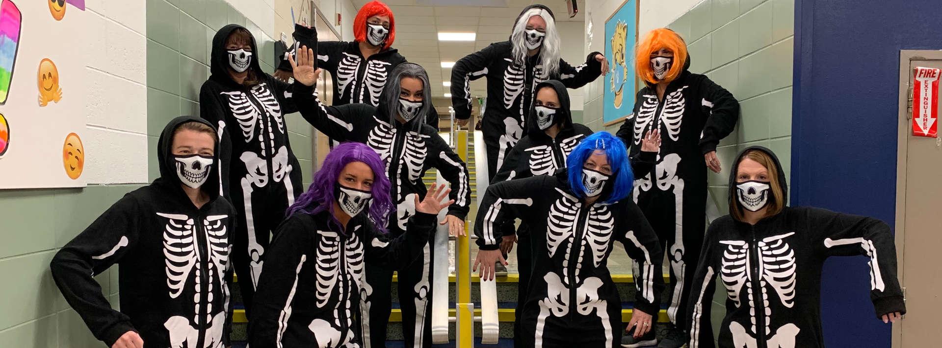 teachers dressed as skeletons