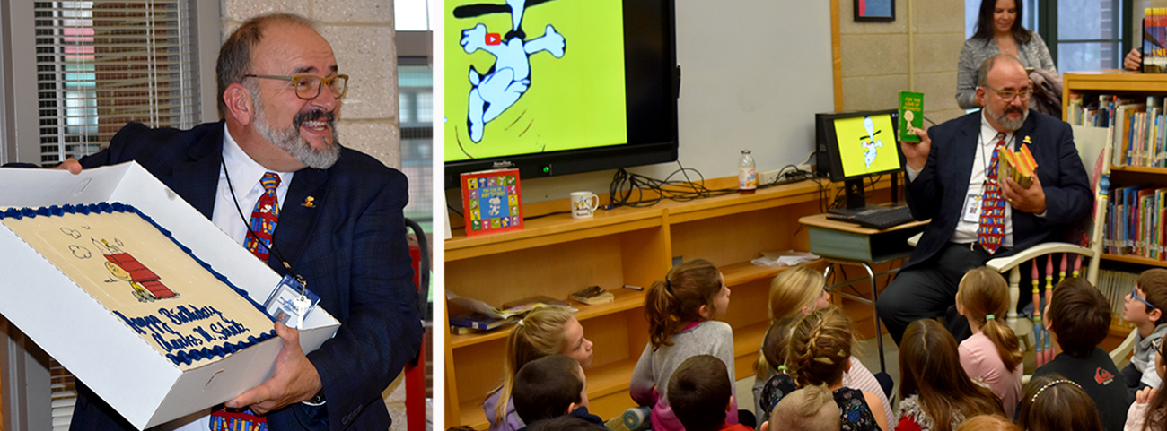 Students listen to Peanuts Gang stories with librarian.