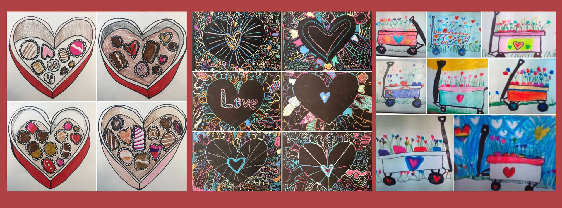Valentine artwork by elementary students