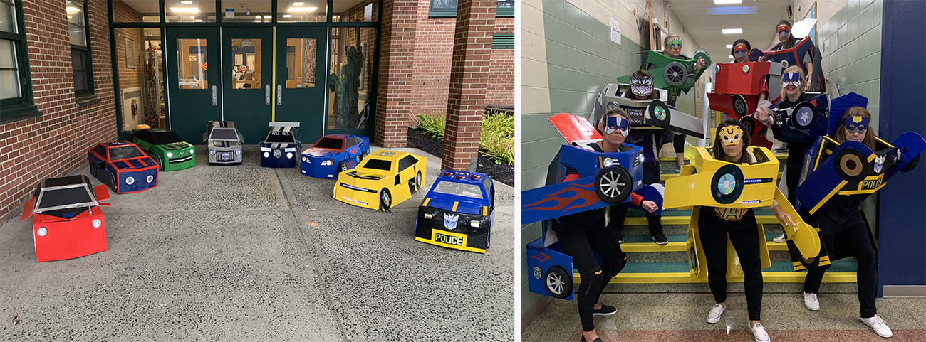 5th grade teachers pose in their Transformers costumes